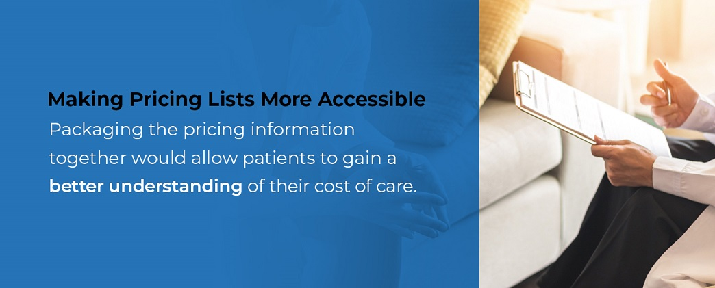 Making pricing lists more accessible