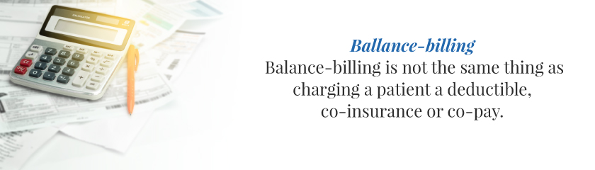 Balance-billing is not the same thing as charging a patient a deductible